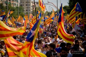 "Thousands of people waving ""Esteladas"" (Catalan independentist flag) in La Meridiana Avenue of Barcelona during a mass demonstration calling for the independence of Catalonia on 11 September, 2015. Catalonia's National Day (La Diada) 2015 marks the beginning of the campaign for the Catalan regional elections scheduled for 27 September. Latest polls give absolute majority to the independence parties."